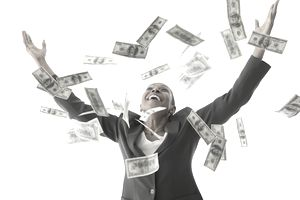 Woman Throwing Money in the Air