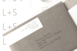outgoing letter with a return address label