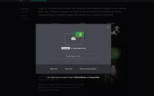 The upload window in Imgur