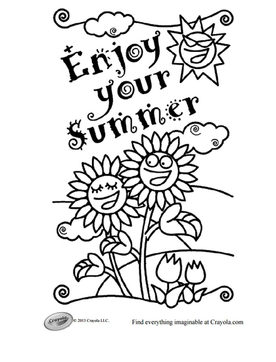 Crayolas Free Summer Coloring Pages Enjoy Your Page With Flowers