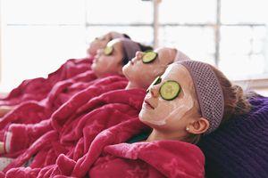 Girls with yogurt face masks