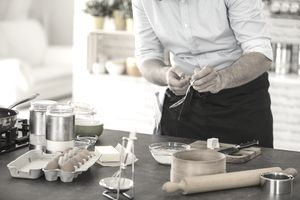 Mixing yeast and water, preparing dough