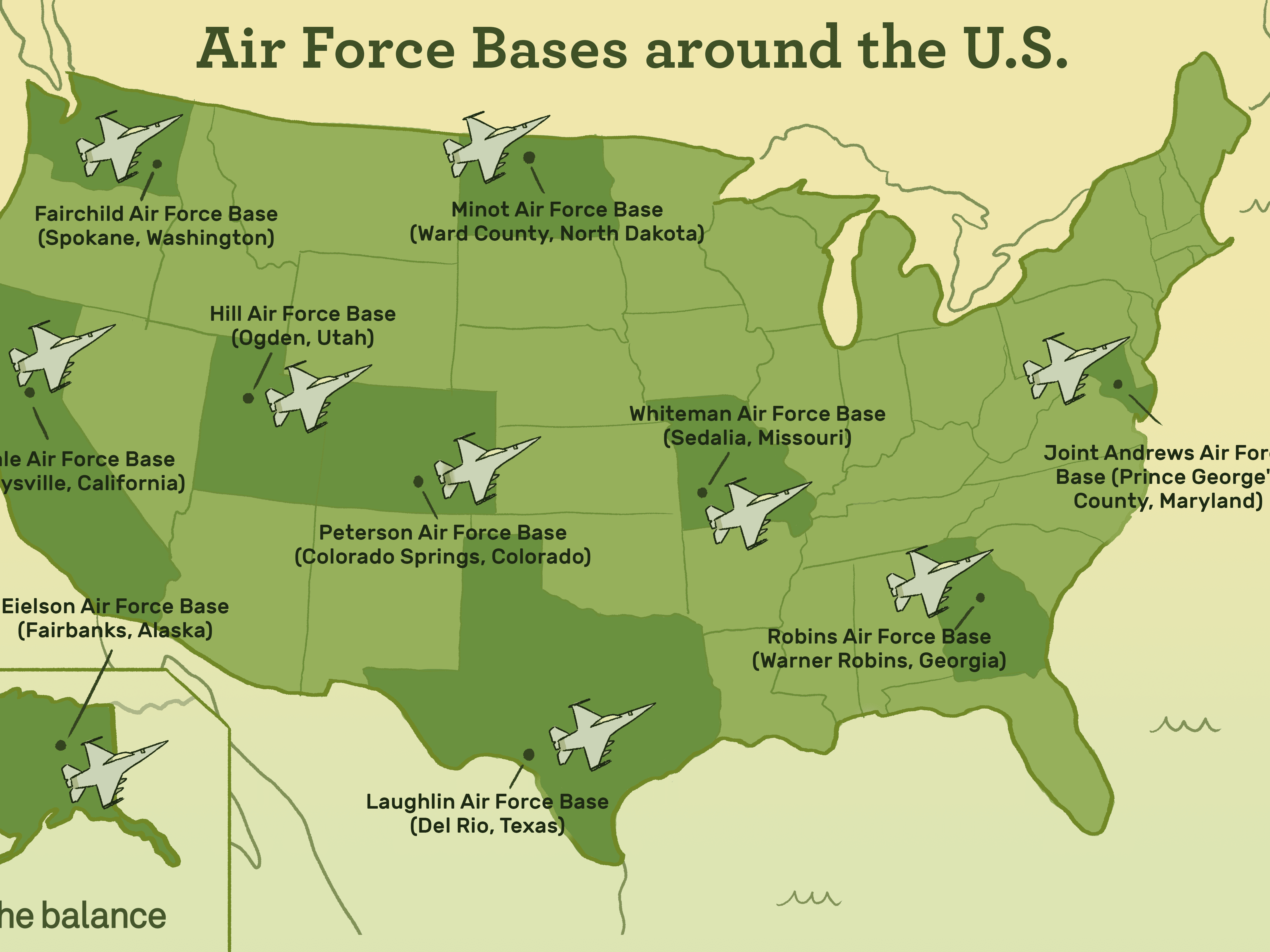 Air Force Bases In Usa Map U.S. Air Force Major Bases and Installations