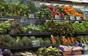 Produce aisle in supermarket, close-up