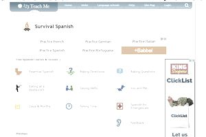The Survival Spanish section at 123TeachMe
