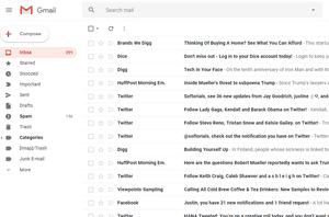 Screenshot of a folder of emails in Gmail