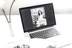 The Knot e-magazine on a laptop