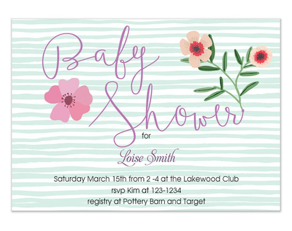Free online baby shower evites your guests will love a green and white striped baby shower invitation with flowers filmwisefo