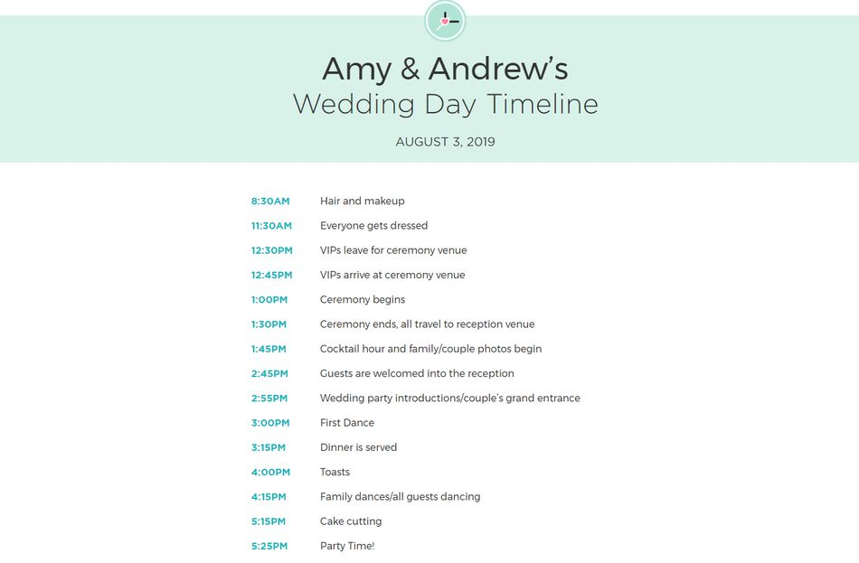free wedding itinerary templates and timelines