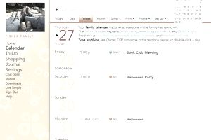Screenshot of the weekly view of a calendar at Cozi