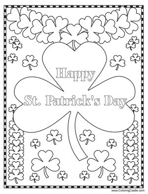 """""""Happy St. Patrick's Day"""" with lots of four-leaf clovers to color"""