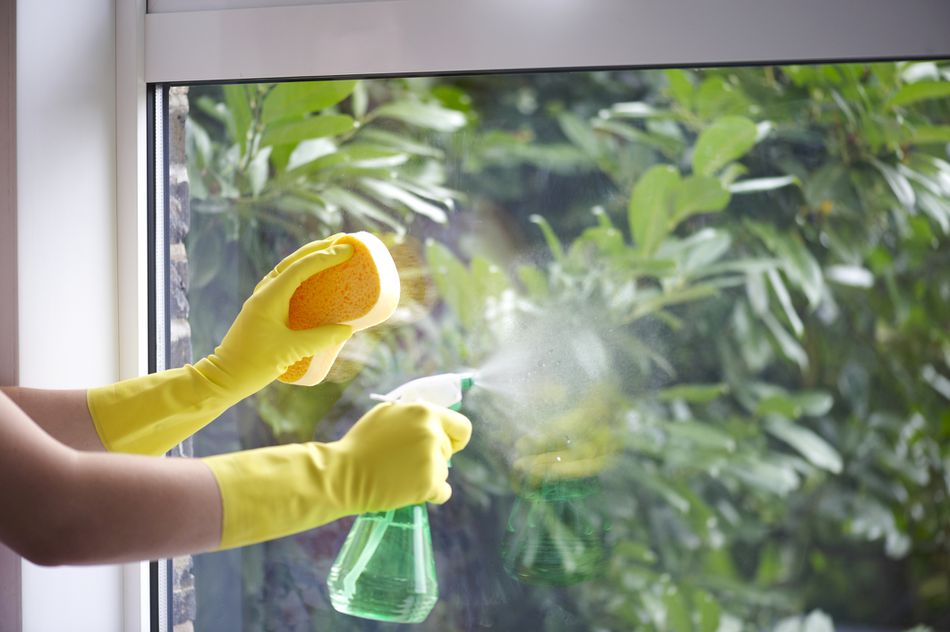 Woman Cleaning a Window with Vinegar