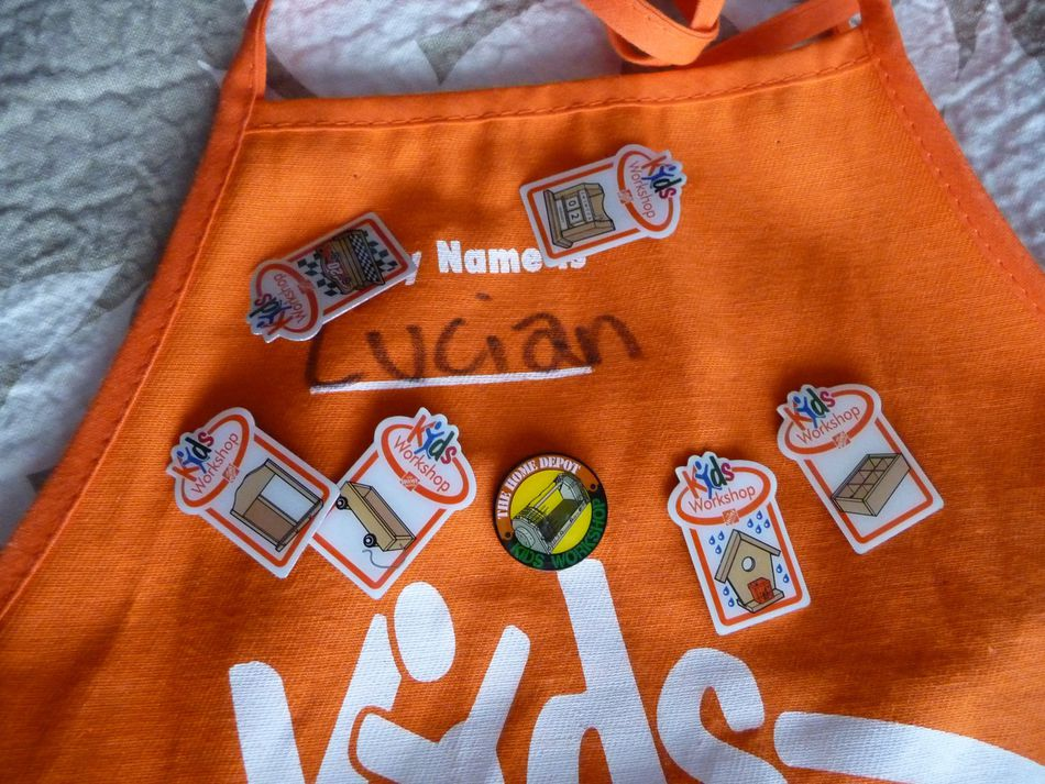 Home Depot Kids' Workshop Apron and Pins