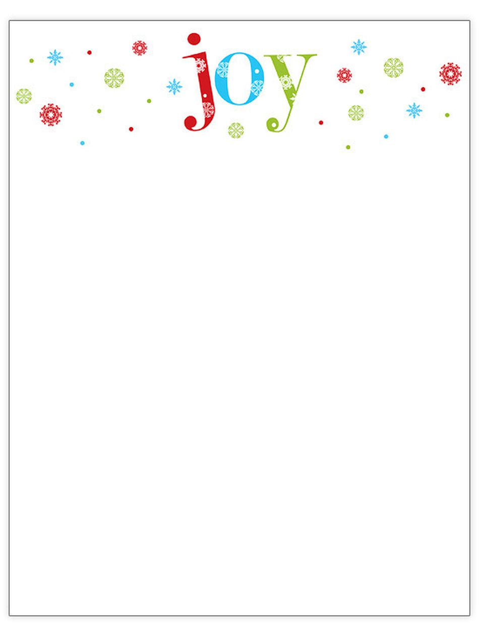 76 free christmas stationery and letterheads free christmas letterhead templates from better homes and gardens joy at the top of a page in red blue and green spiritdancerdesigns Images