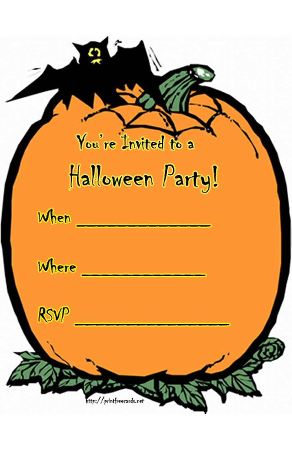 21 free halloween invitations that you can print pumpkin halloween invitations from print free cards stopboris Images