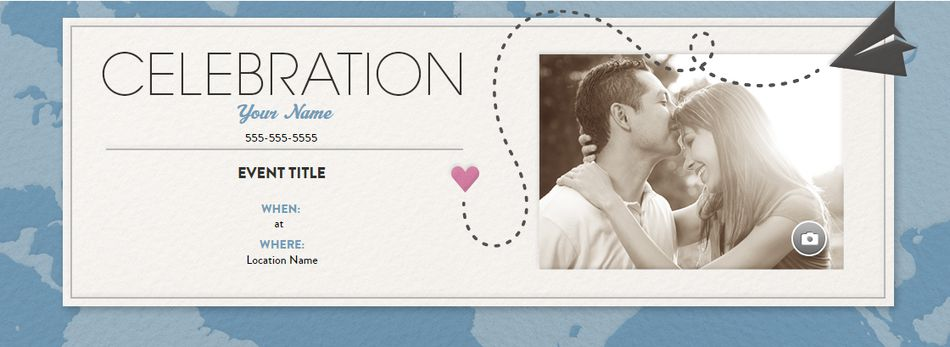 An online wedding invitation with a paper airplane and a heart
