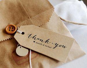 A custom wedding favor tag