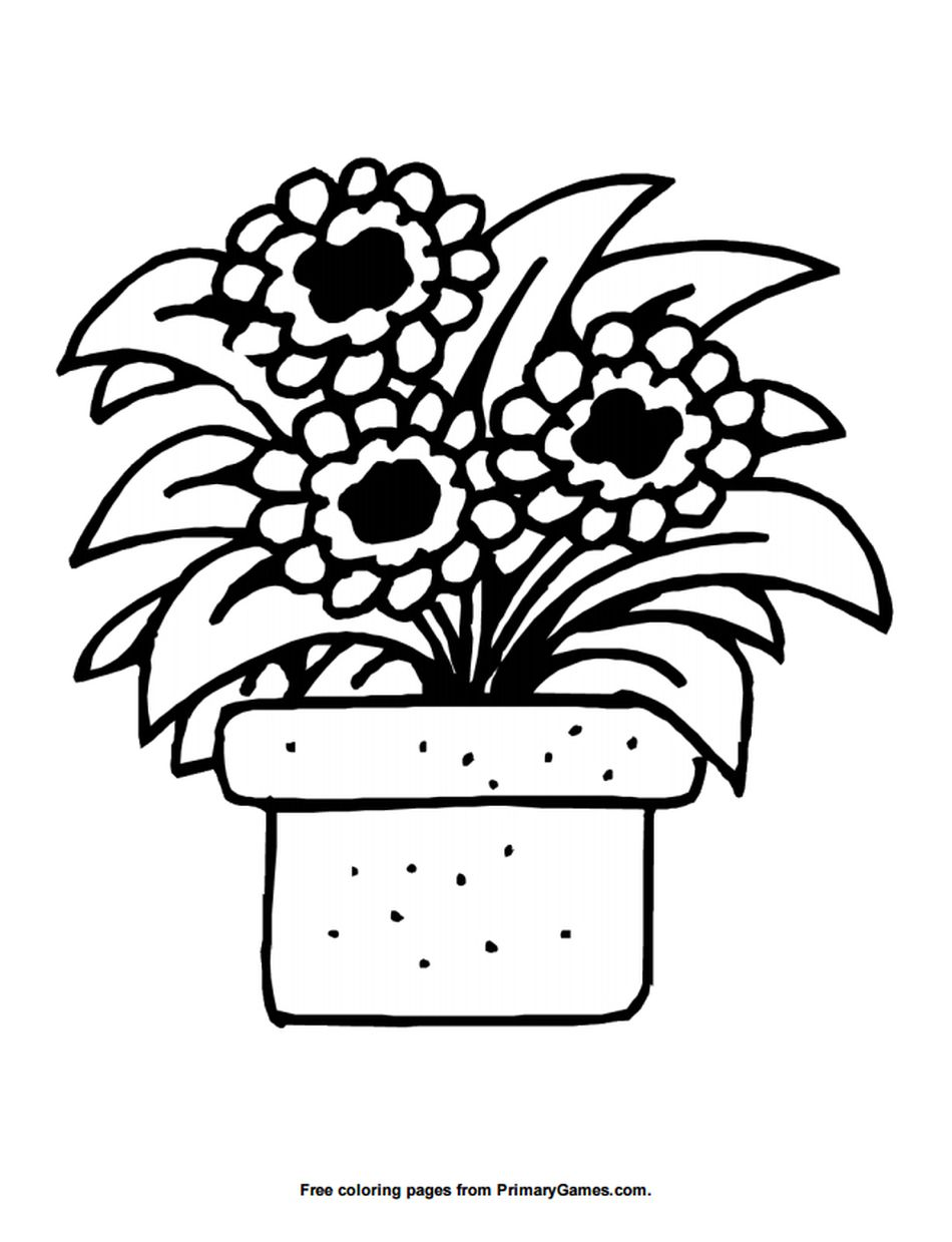 Primary Games Summer Coloring Pages A Flower Pot
