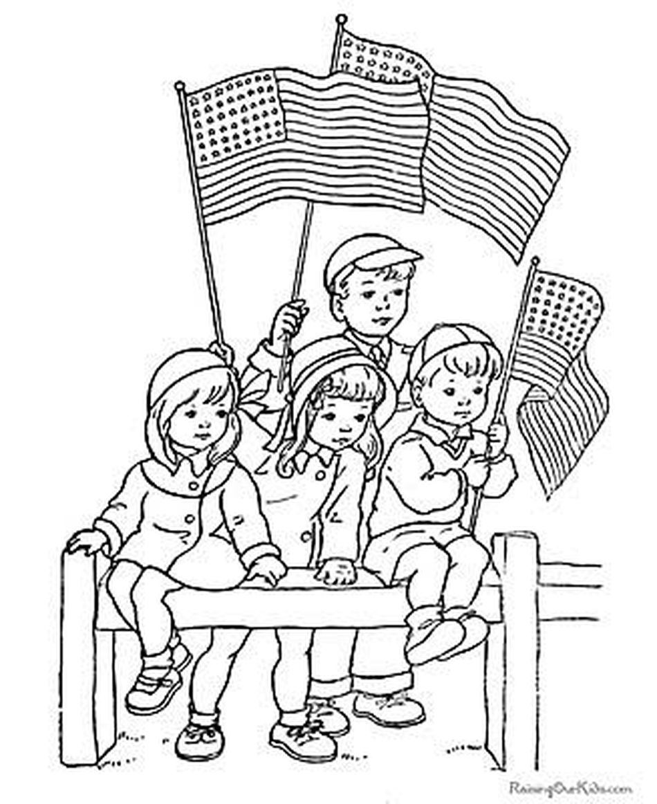 Children holding American flags.