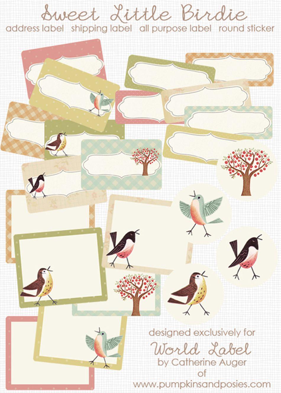 sweet little birdie address template from world label