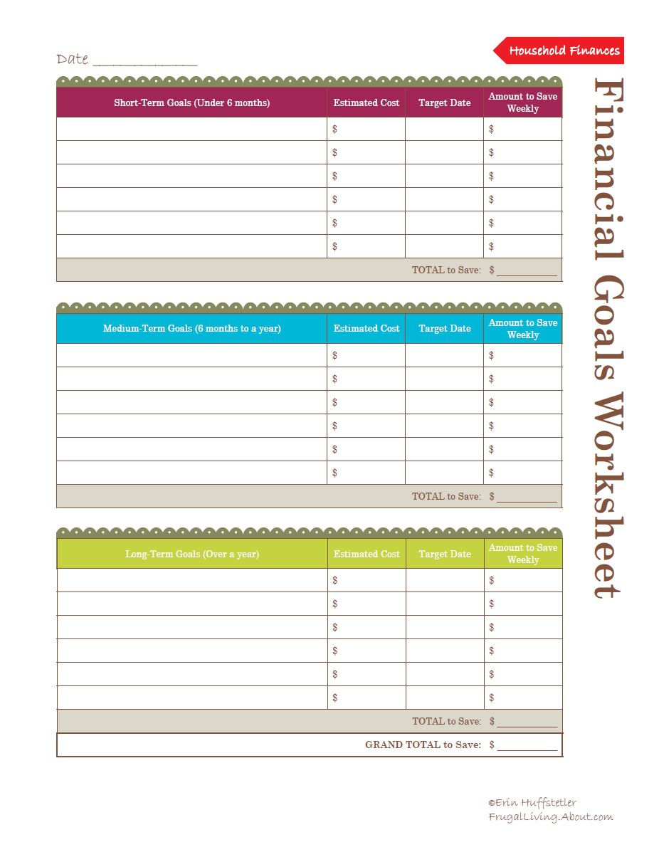 use this worksheet to help set financial goals