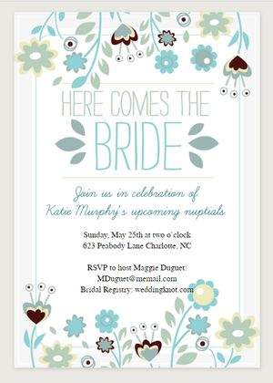 Free printable bridal shower invitations here comes the bride printable bridal shower invitation from greetings island filmwisefo
