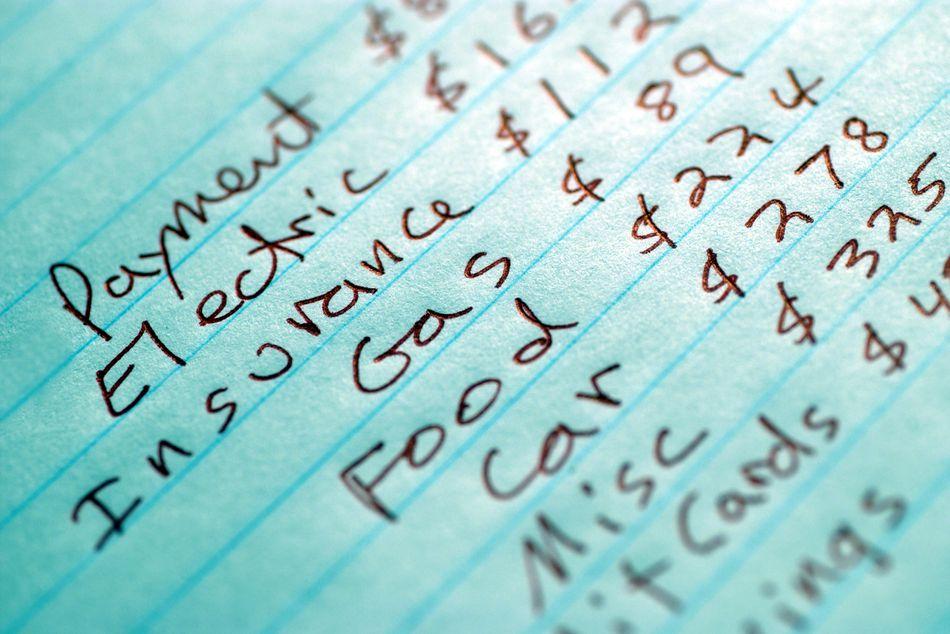 Handwritten list for a personal budget