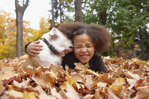 Mixed race girl and dog laying in autumn leaves